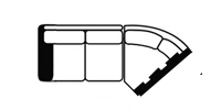 laf loveseat wedge line drawing