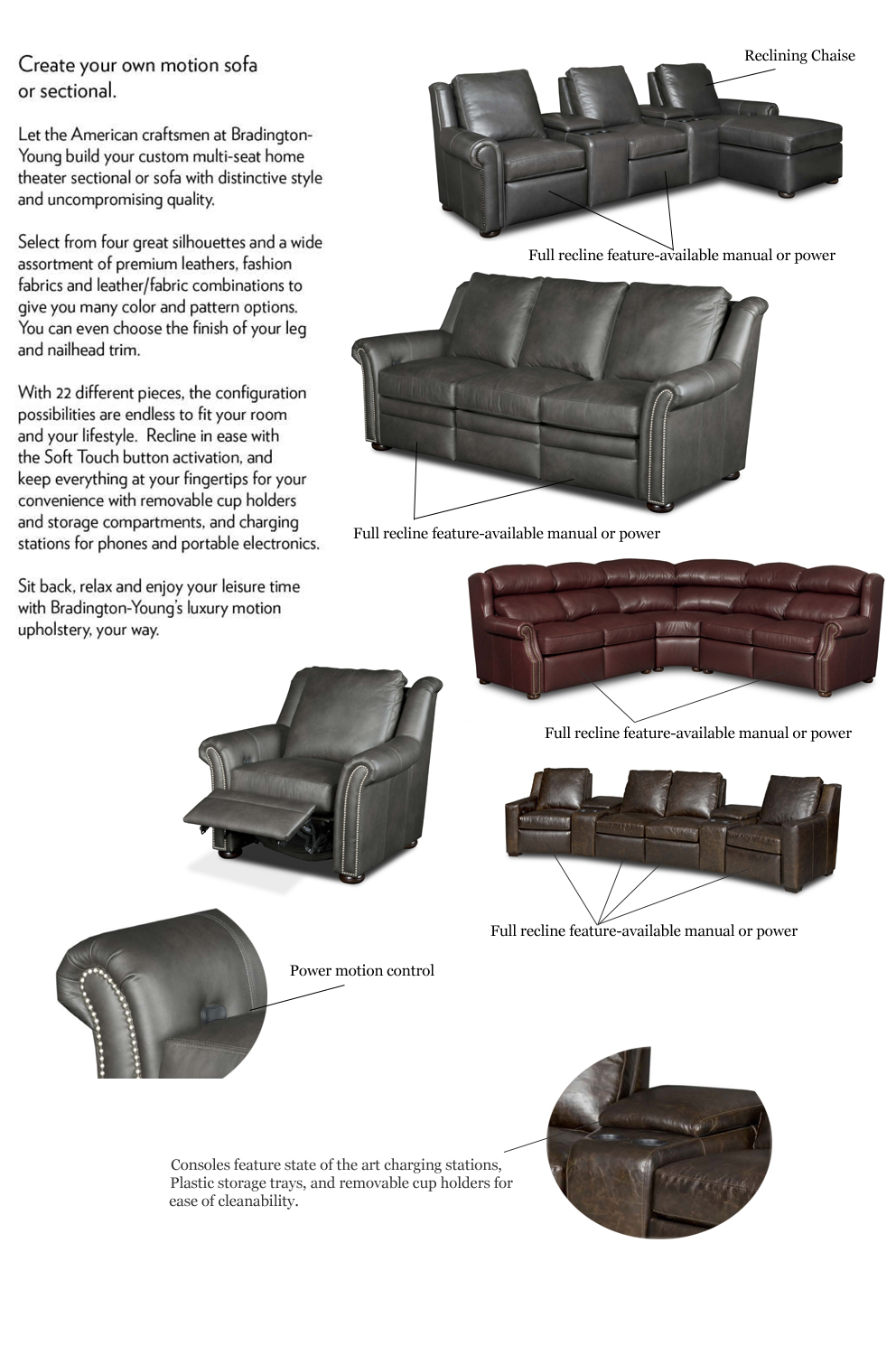 Lovely Bradington Young 900 Series Luxury Reclining Furniture Create Your Own  Motion Piece ...